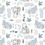 Patchworkstoff Quilt Stoff White Disney Pooh Blankets & Honey