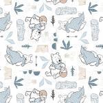 Patchworkstoff Quilt Stoff White Disney Pooh Blankets & Honey