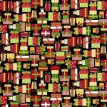 Patchworkstoff Quilt Stoff Black Christmas Presents Christmas