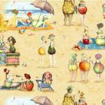 Patchworkstoff Fruit Lady Patch, Dicke Badedamen am Strand