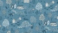 Patchworkstoff Quilt Stoff Makower *Grove Scenic* Deep Blue