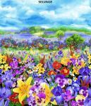 Baumwollstoff Panel *Wild Meadow* Wiese mit Stiefmütterchen CD7068