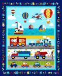 Patchworkstoff Quilt Stoff Panel Multi Off We Go Auto, Eisenbahn, Truck, Boot