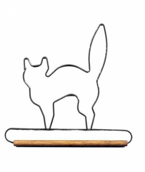 Dekobügel, Quilt Hänger `Schwarze Katze` 6 Inch  Black Cat mit 1/4 Inch Holzstange