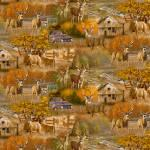 Patchworkstoff Quilt Stoff Fall Country Deer Hirsche