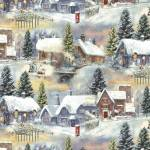 Patchworkstoff Quilt Stoff Blue Winter Cottage Village Winterdorf