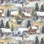 Patchworkstoff Quilt Stoff Blue Winter Cottage Village Winterdorf