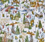 Patchworkstoff Quilt Stoff Winter Village Snowy Church Houses Winterdorf