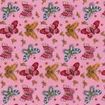 Patchworkstoff Quilt Stoff  Blumen von Lori Art Garden mit Schmetterlingen in rosa