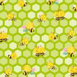 Patchworkstoff Quilt Stoff *Busy Bees* Grün