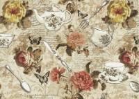 Patchworkstoff Quilt Stoff *Afternoon Tea* Rosen, Teetassen, Teekanne und Schriftzug