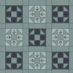 Patchworkstoff Quilt Beistoff *Home Sewn* Quadrate in türkisem Hintergrund