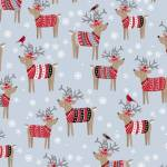 Patchworkstoff Quilt Stoff Rentiere mit Winterpullover