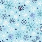 Patchworkstoff Quilt Stoff blau, weiße Schneeflocken auf hellblauem Hintergrund