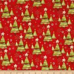 Patchworkstoff Quilt Stoff *Believe in the Season* Weihnachtsbäume auf rot
