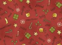 Patchworkstoff Quilt Stoff *All Things Christmas* Weihnachtsmotive auf rot