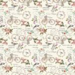Patchworkstoff Quilt Stoff Shabby Chic Rosen, Fahrräder *La Concorde*