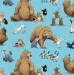 Beistoff Quilt Patchworkstoff *Adventures of Bear & Friends*Bären, Hase, Krähe