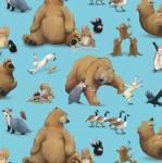Beistoff Quilt Patchworkstoff *Adventures of Bear & Friends*Bären, Hase, Krähe