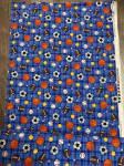 Patchworkstoff Stoff Quilt verschiedene Bälle auf blau kariertem Stoff