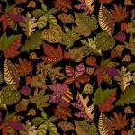 Patchworkstoff Quilt *Autumn is calling* Herbstblätter mit Muster auf schwarz