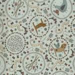 Patchworkstoff Lecien *One Stitch at a time* mit Nähthemen und Tieren in Kreisen graublau