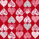 Patchworkstoff Quilt *Hugs and kisses* Herzen auf rot