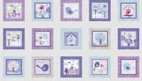 Patchworkstoff  Panel 60x110 cm Tweet Together Tolle Szenen mit Vögelchen