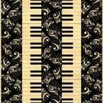 Patchworkstoff Quilt Stoff Symphonie Suite Klaviertasten mit Noten Streifenoptik