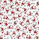 Baumwollstoff *Peace and Goodwill* Weihnachtsmänner mit Geschenken