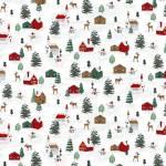 Baumwollstoff *Peace and Goodwill* Winterlandschaft mit Häusern auf weiss
