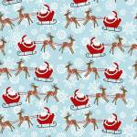 Baumwollstoff *Peace and Goodwill* Weihnachtsmann hellblau StE 5206-18