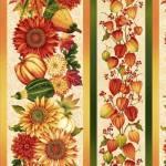Baumwollstoff Streifenstoff *Autumn Album* Herbst Lampionblume Sonnenblume Kürbis orange rot creme grün HG 2022