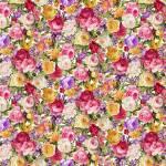 Patchworkstoff Quilt *AYANA* Rosen und andere Blumen verteilt