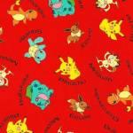 Baumwollstoff *Pokemon* Pikachu Schiggy Evoli Glumanda Mauzi rot gelb braun blau   RK 72015