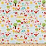 Baumwollstoff *Blooms that you are planted* Blumen Vogel Schmetterling türkis gelb rot grün RB C6851