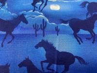 Patchworkstoff Pferde bei Nacht (Überbreite 1,40)