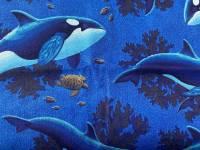 Patchworkstoff; Wale im Meer