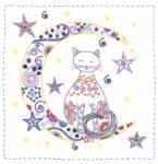 Stickbild Au clair de la lune - Katze im Mond
