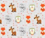 Patchworkstoff Flanell *Animal Buddies Flannel*  Fuchs Eule Reh Waschbär 1905
