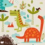 Patchworkstoff Quilt Stoff Dino Dinosaurier *Dinosaur* creme  RB C4160