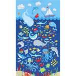 Patchworkstoff Kinderstoff Panel *Sea Ocean* Wal Krake Rochen Korallen Segelboot Ozean dunkelblau gelb orange grün TT-C6422-P