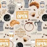 Patchworkstoff Quiltstoff Baumwollstoff *Neutral Coffee Shop* Kaffee Latte Macchiato Kaffeebohnen braun grau weiß W 52259-1