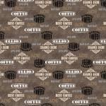 Patchworkstoff Quiltstoff Baumwollstoff *Grey Coffee Shop Words* braun grau weiß schwarz W 52261-3