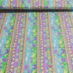 Patchworkstoff Baumwollstoff Ostern Hasen Küken gelb lila rosa grün FQ103-97512