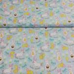 Patchworkstoff Quilt Stoff Ostern *Easter Bunnies* Hasen Ostereier  weiß blau gelb CC3858-47053