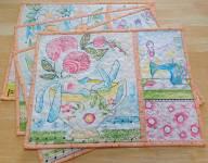 Materialpackung Platzdeckchen *Tassen Bunny* 4 Stck. ca. 40 x 30 cm Ostern Hase Nähen Cori Dantini
