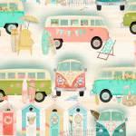 Patchworkstoff Baumwollstoff *Beach Travel* Bus Reise mint rosa weiß 3WF17332