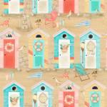 Patchworkstoff Baumwollstoff *Beach Travel* Strand Kabine Hütte mint rosa weiß 3WF17335
