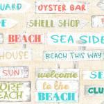 Patchworkstoff Baumwollstoff *Beach Travel* Beach Shell Sea türkis rot weiß 3WF17337